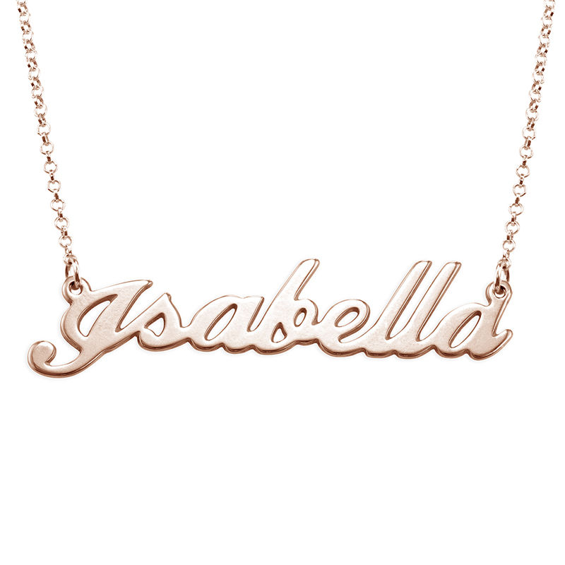 Classic Name Necklace in 18ct Rose Gold Plating - 1
