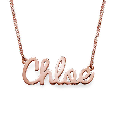 Cursive Name Necklace in Rose Gold Plating