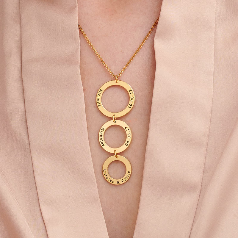 Engraved 3 Circles Necklace in Gold Plating - 2