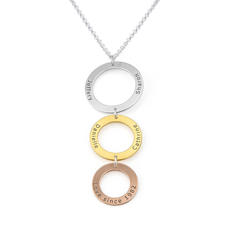 Engraved 3 Circles Necklace in Tri- colour