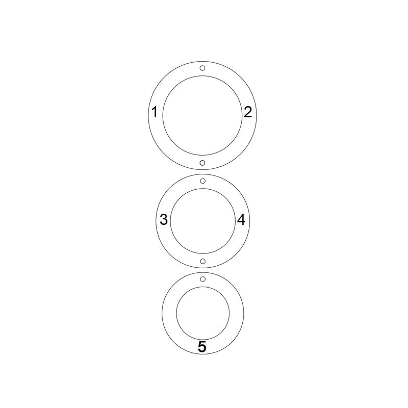 Engraved 3 Circles Necklace in Tri- colour - 3