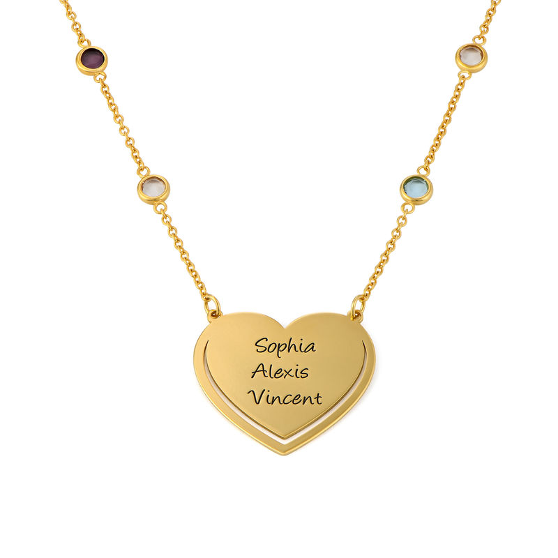 Engraved Heart Necklace with Multi-coloured Stones chain in Gold Plating