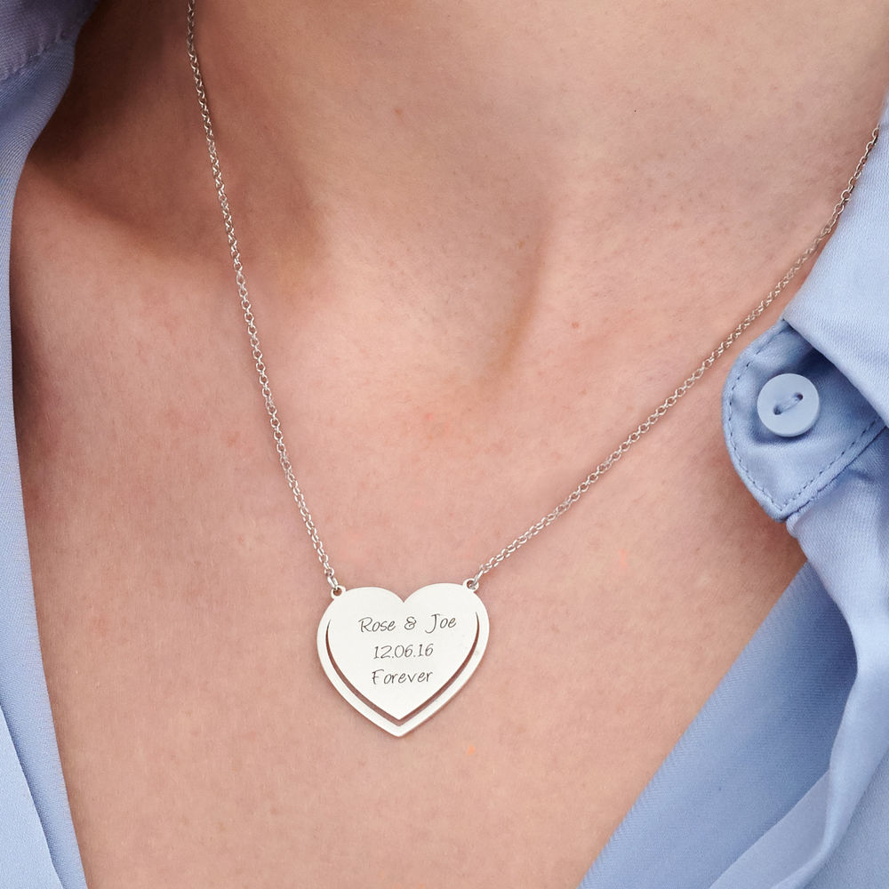 Personalised Heart Necklace in Sterling Silver - 2