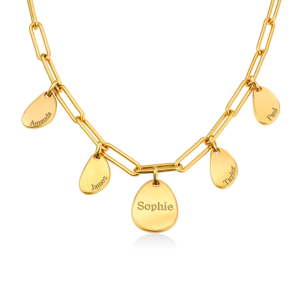 Personalized Chain Link Necklace with Engraved Charms in Gold Plating