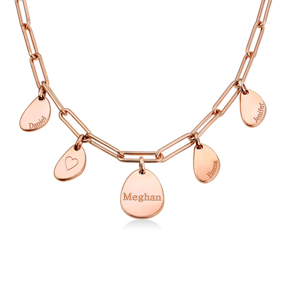Personalized Chain Link Necklace with Engraved Charms in Rose Gold Plating