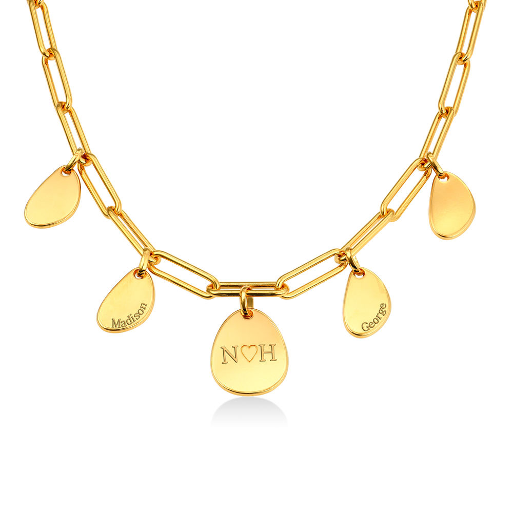 Personalized Chain Link Necklace with Engraved Charms in Gold Vermeil