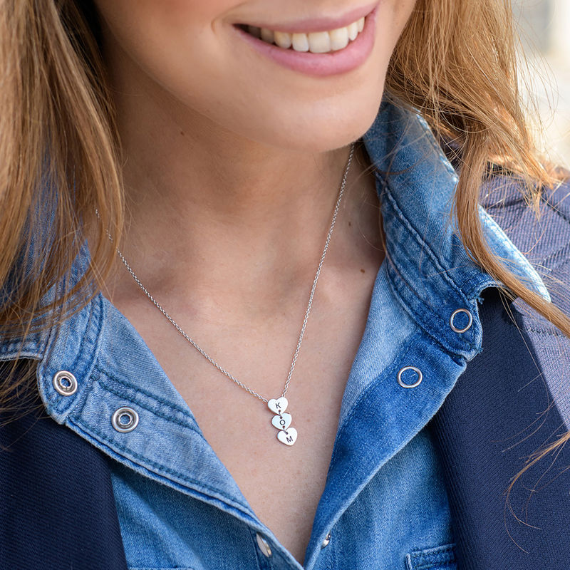 Vertical Initial Hearts Stackable Necklace in Sterling Silver - 1