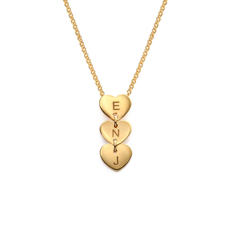 Vertical Initial Hearts Stackable Necklace in 18ct Gold Vermeil