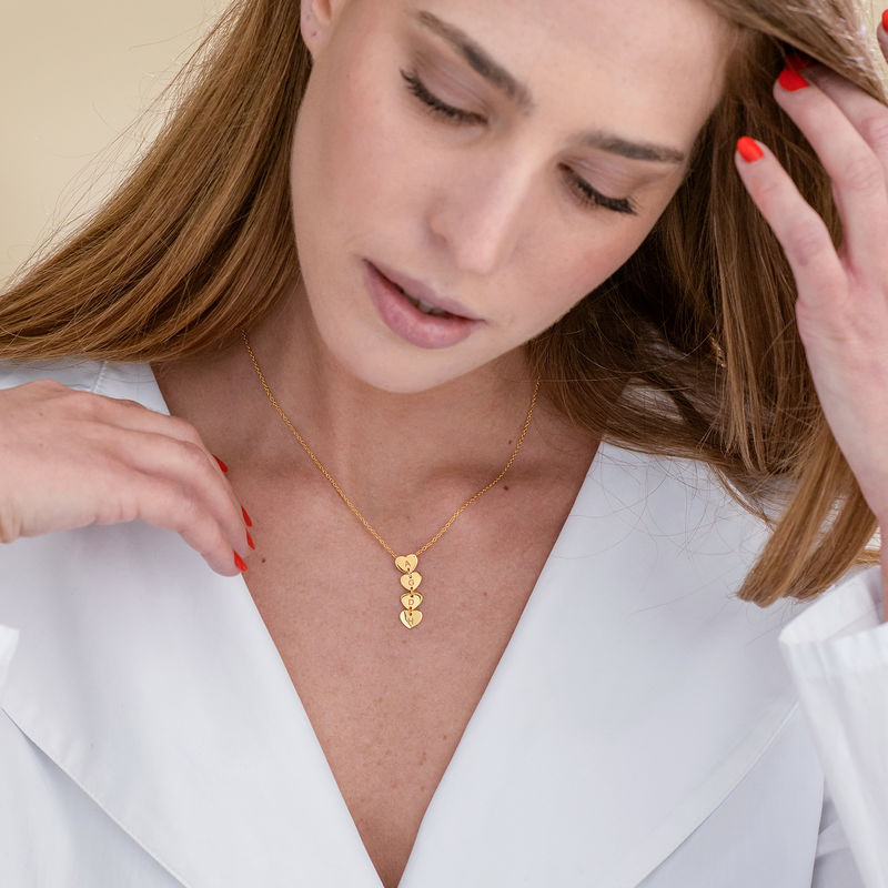 Vertical Initial Hearts Stackable Necklace in 18ct Gold Vermeil - 1