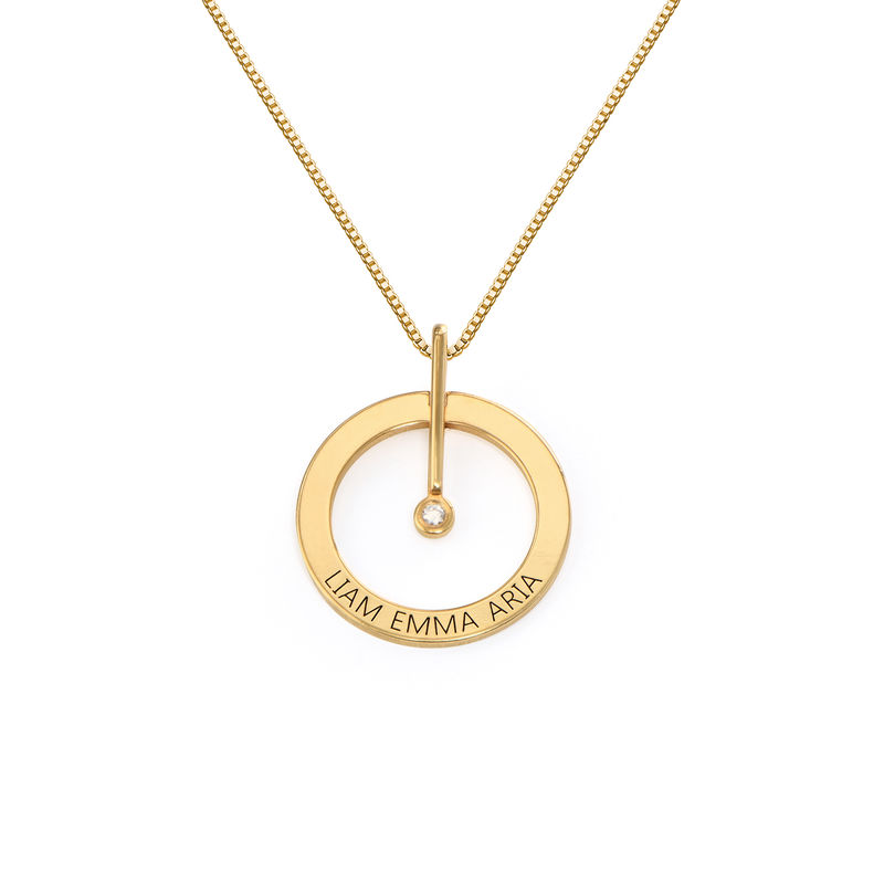 Personalised Circle Necklace with Diamond in 18ct Gold Vermeil