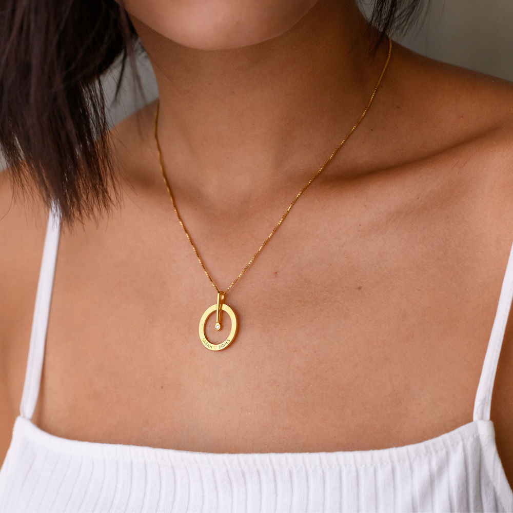 Personalised Circle Necklace with Diamond in 18ct Gold Vermeil - 1 - 2