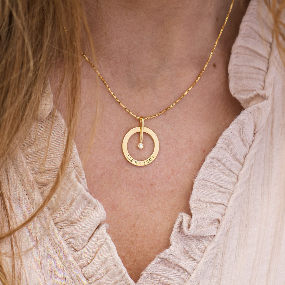 Personalised Circle Necklace with Diamond in 18ct Gold Vermeil - 1 - 2 - 3