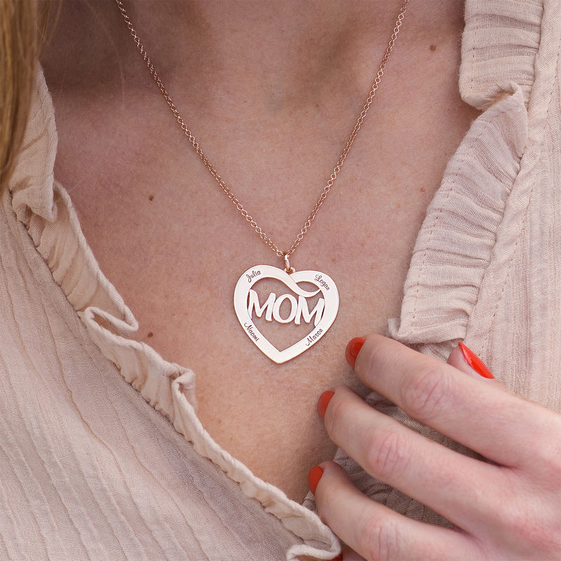 Mum Heart Necklace with Kids Names in 18ct Rose Gold Plating - 1 - 2