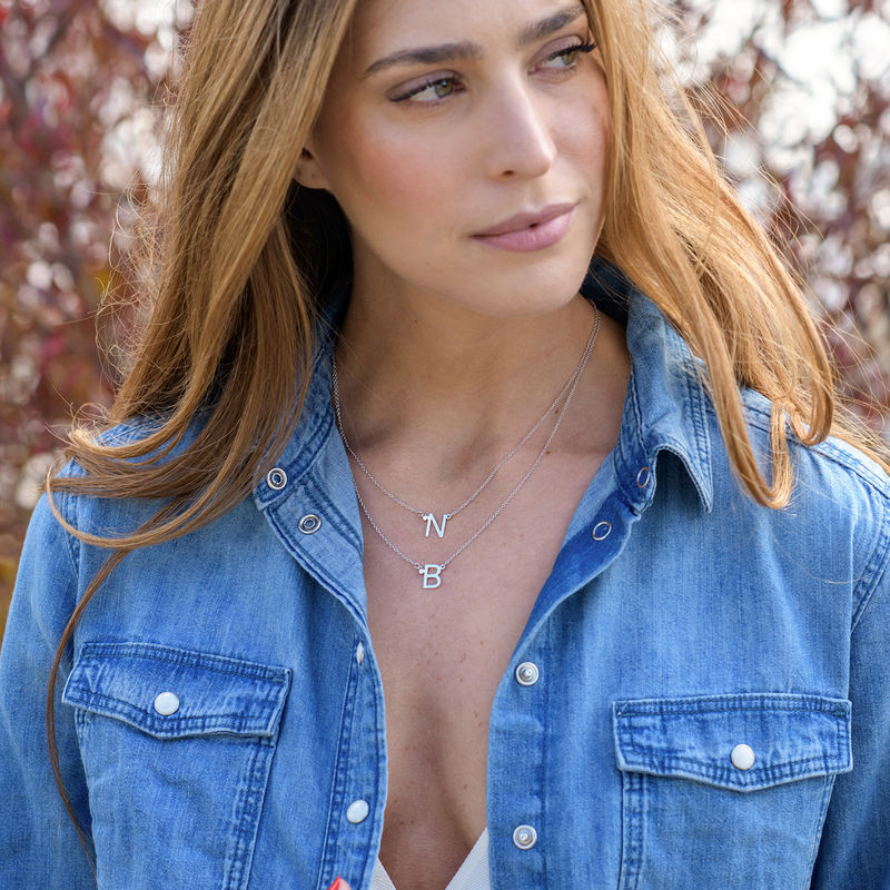 Initial Pendant Necklace with Cubic Zirconia in Sterling Silver - 4