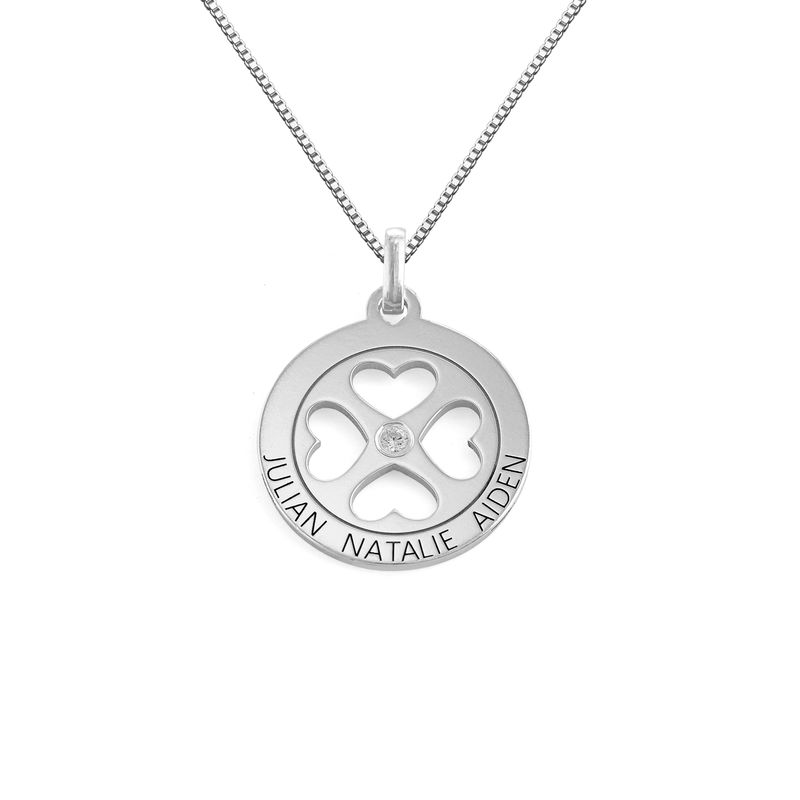 Four Leaf Clover Heart in Circle Pendant Necklace in Silver - Mini design