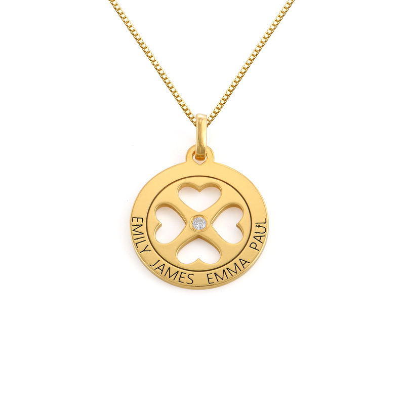 Four Leaf Clover Heart in Circle Pendant Necklace in 18ct Gold Plated - Mini design