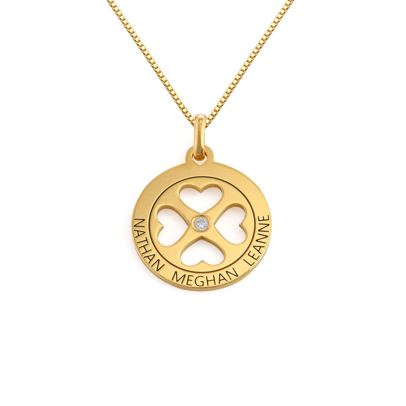 Four Leaf Clover Heart in Circle Pendant Necklace in 18ct Gold Vermeil - Mini design