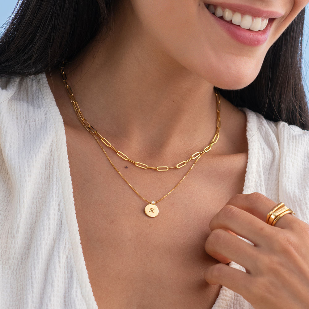 Small Circle Initial Necklace with Diamond in Gold Vermeil - 1