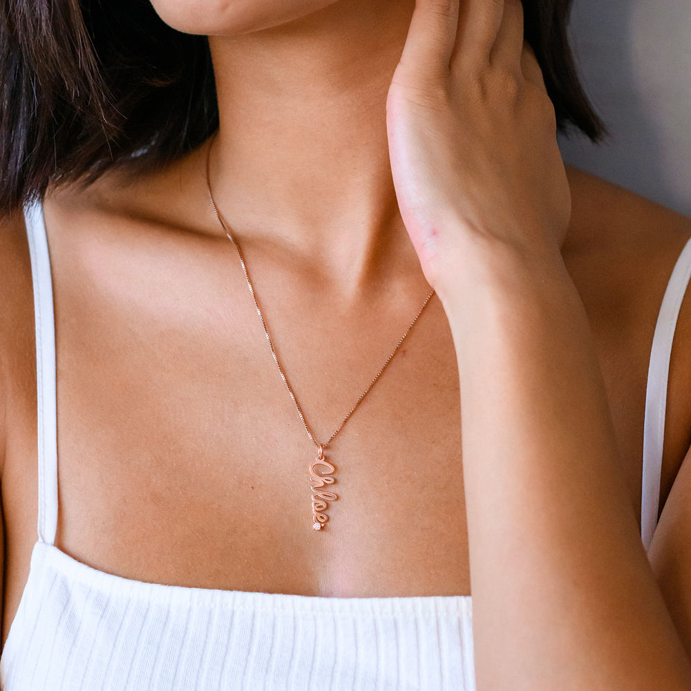 Vertical Diamond Name Necklace in Cursive in Rose Gold Plated - 1