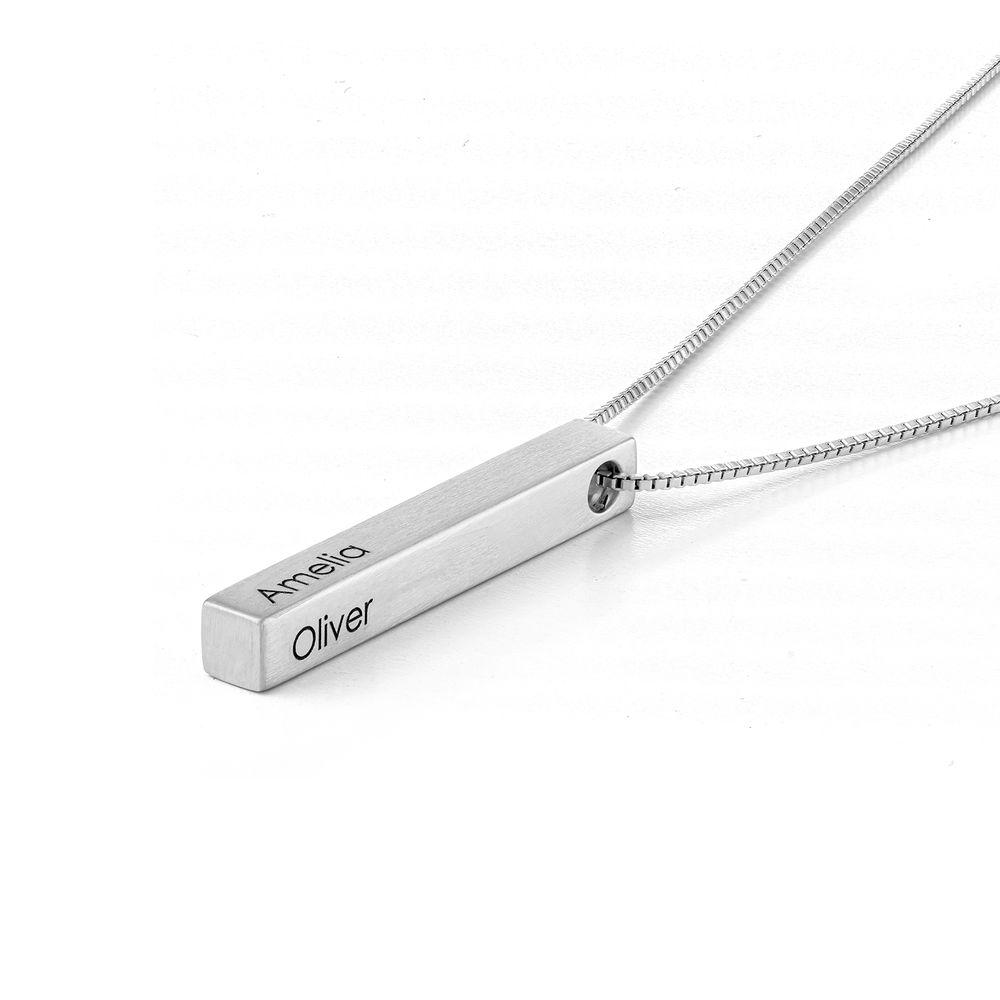 Custom 3D Bar Necklace in Matte Silver - 1