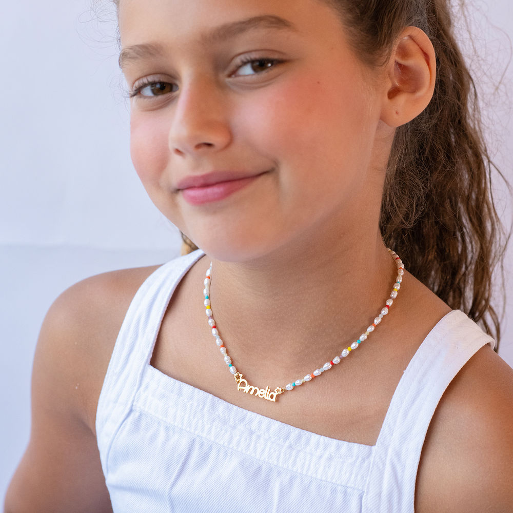 Pearl Candy Girls Name Necklace in Gold Plating - 3