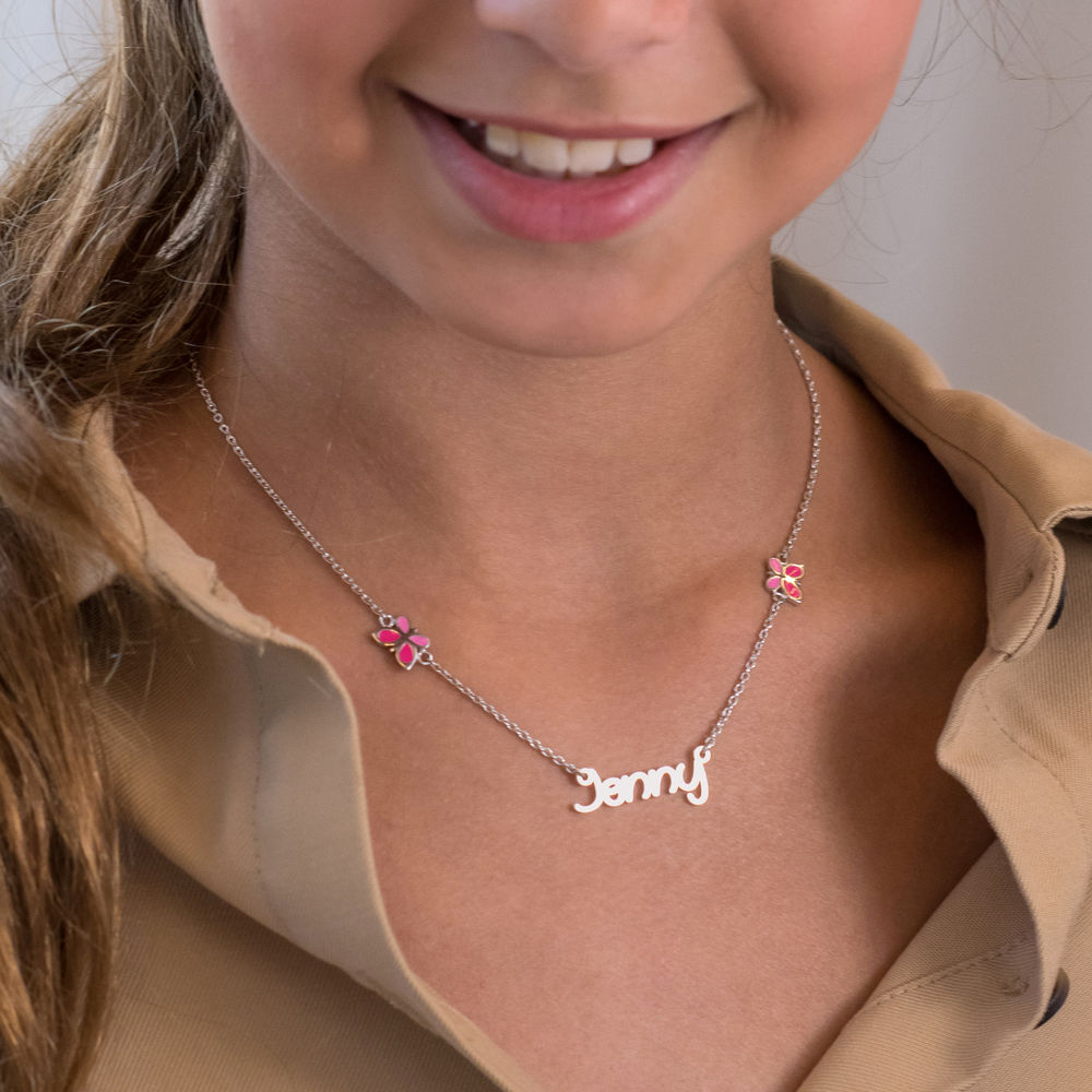 Butterfly Girls Name Necklace in Sterling Silver - 2