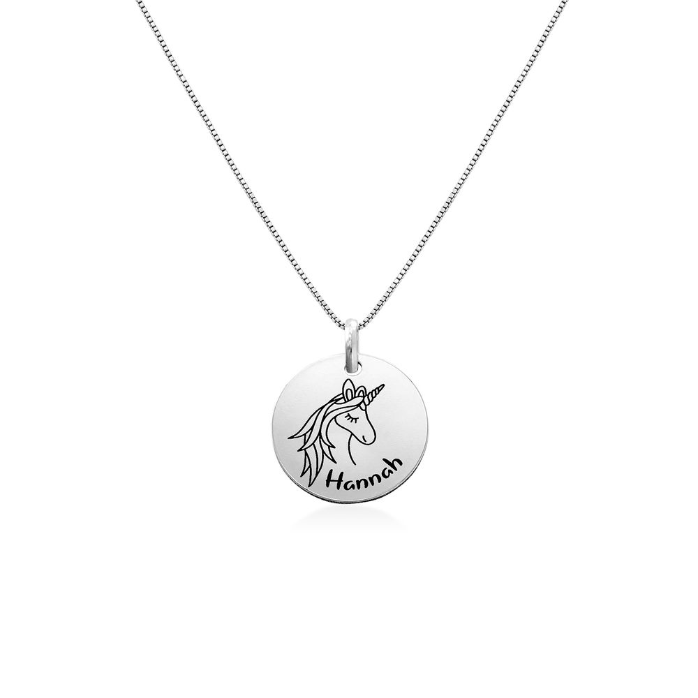 Kids Drawing Disc Necklace in Sterling Silver - 1