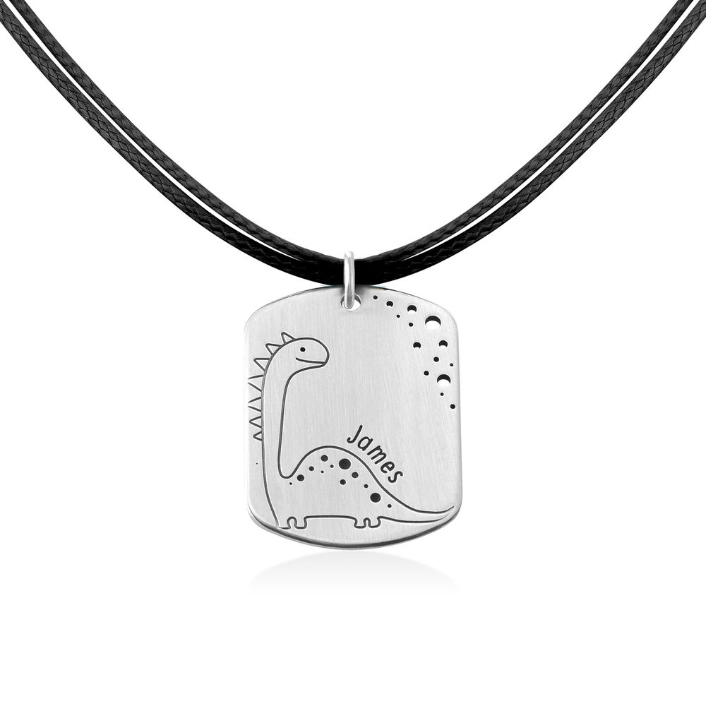 Dinosaur Custom Dog Tag in Sterling Silver - 2