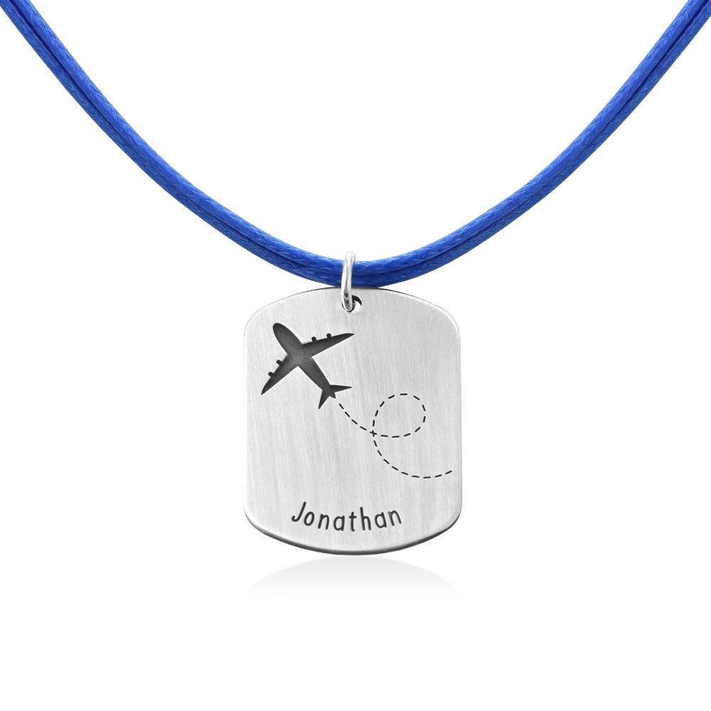 Airplane Personalised Dog Tag in Sterling Silver