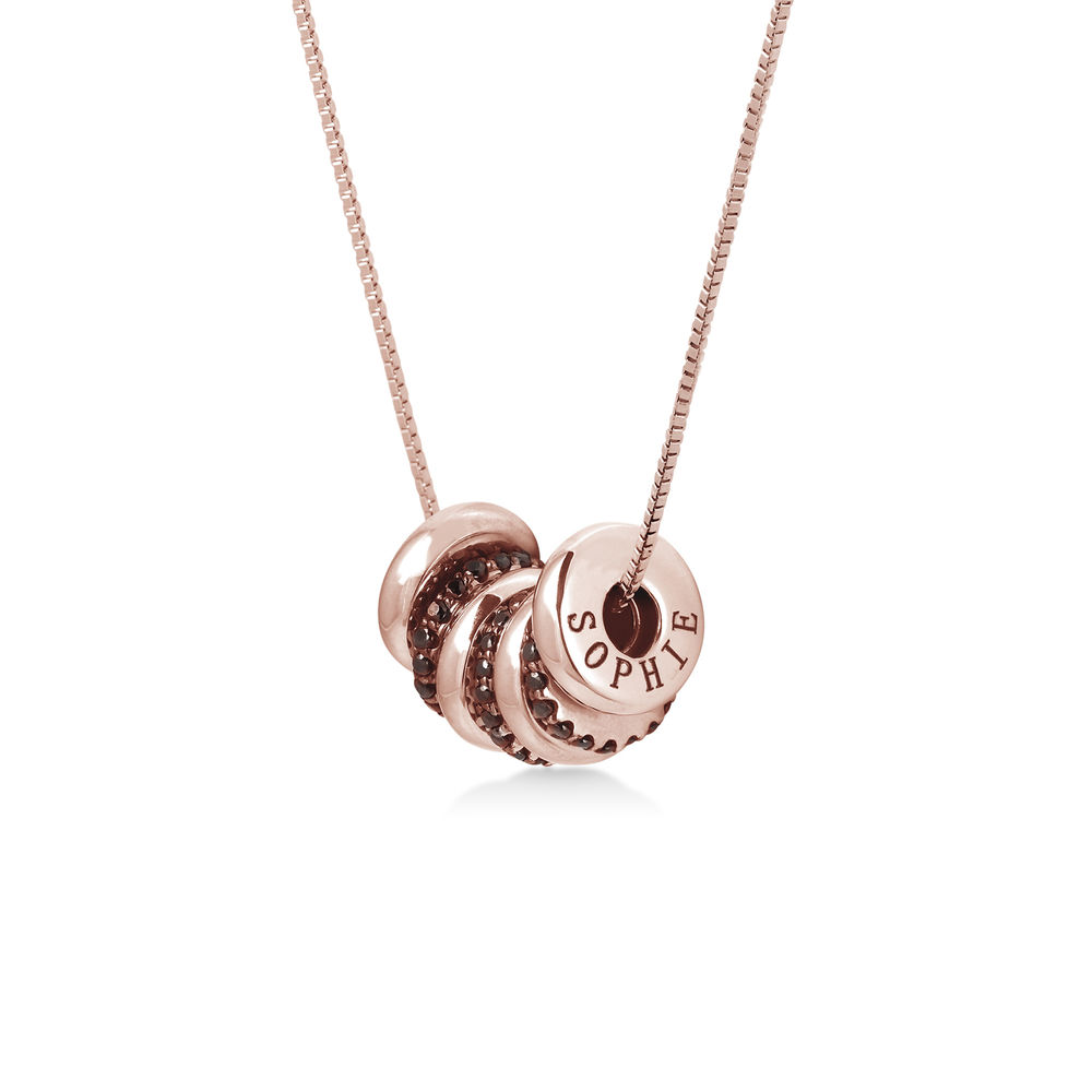 Custom Engraved Beads Necklace in Rose Gold Plating