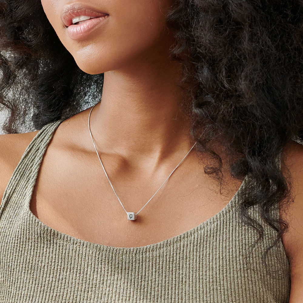 Blair Initial Cube Necklace in Sterling Silver - 3