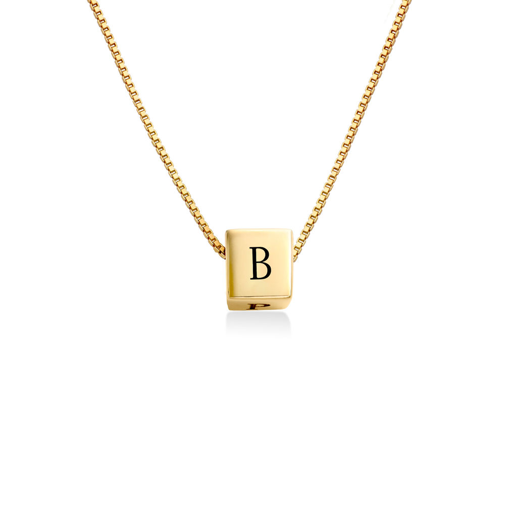 Blair Initial Cube Necklace in Gold Plating
