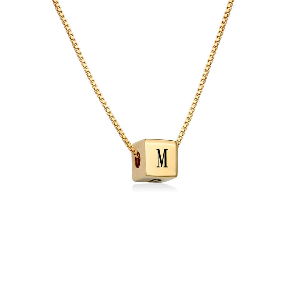 Blair Initial Cube Necklace in Gold Plating - 1