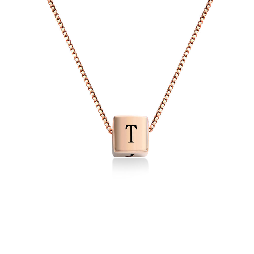 Blair Initial Cube Necklace in Rose Gold Plating