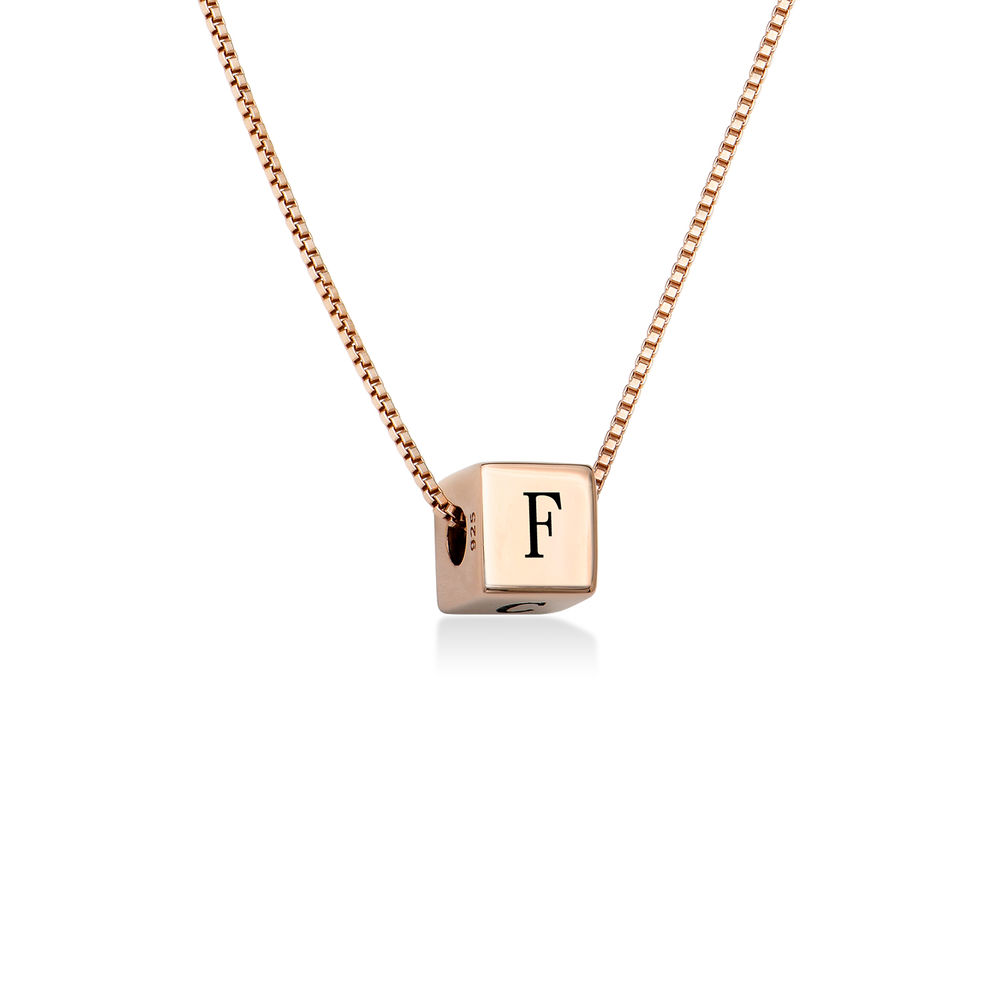 Blair Initial Cube Necklace in Rose Gold Plating - 1