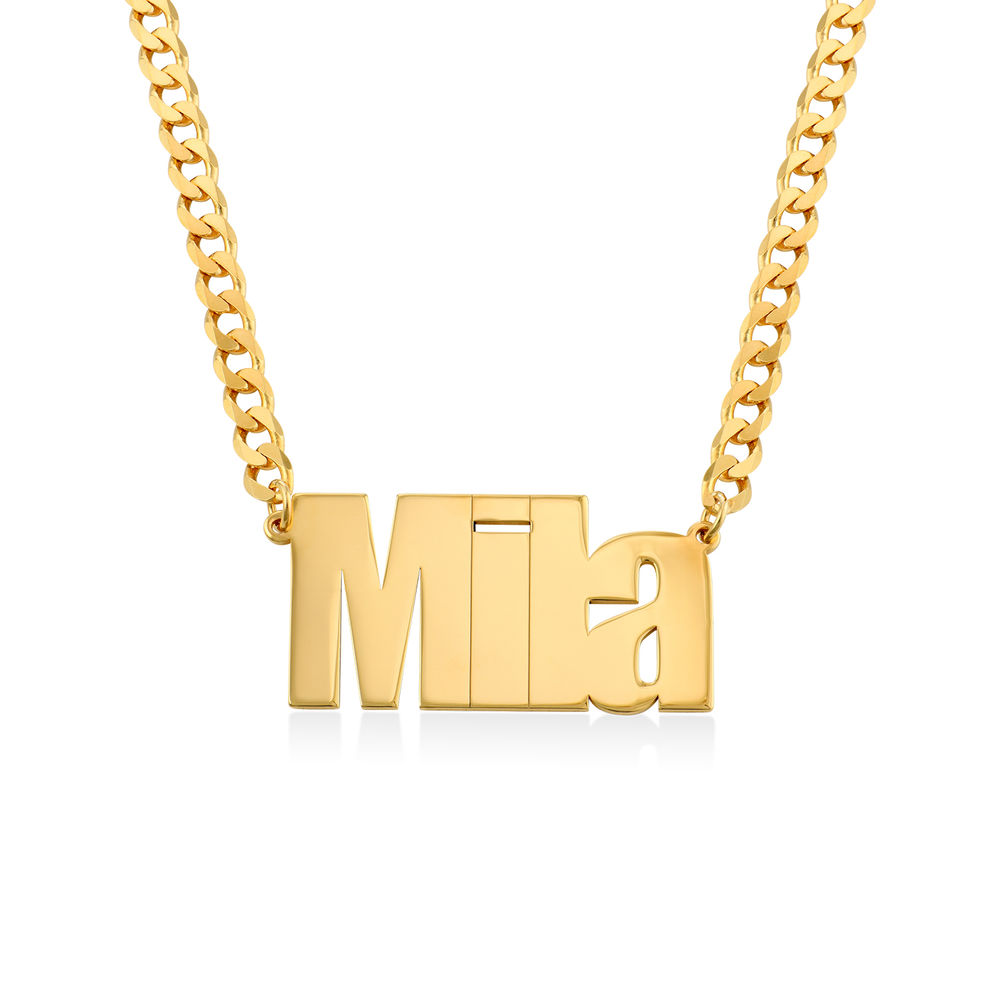 Large Custom Name Necklace with Gourmet Chain in Gold Plating