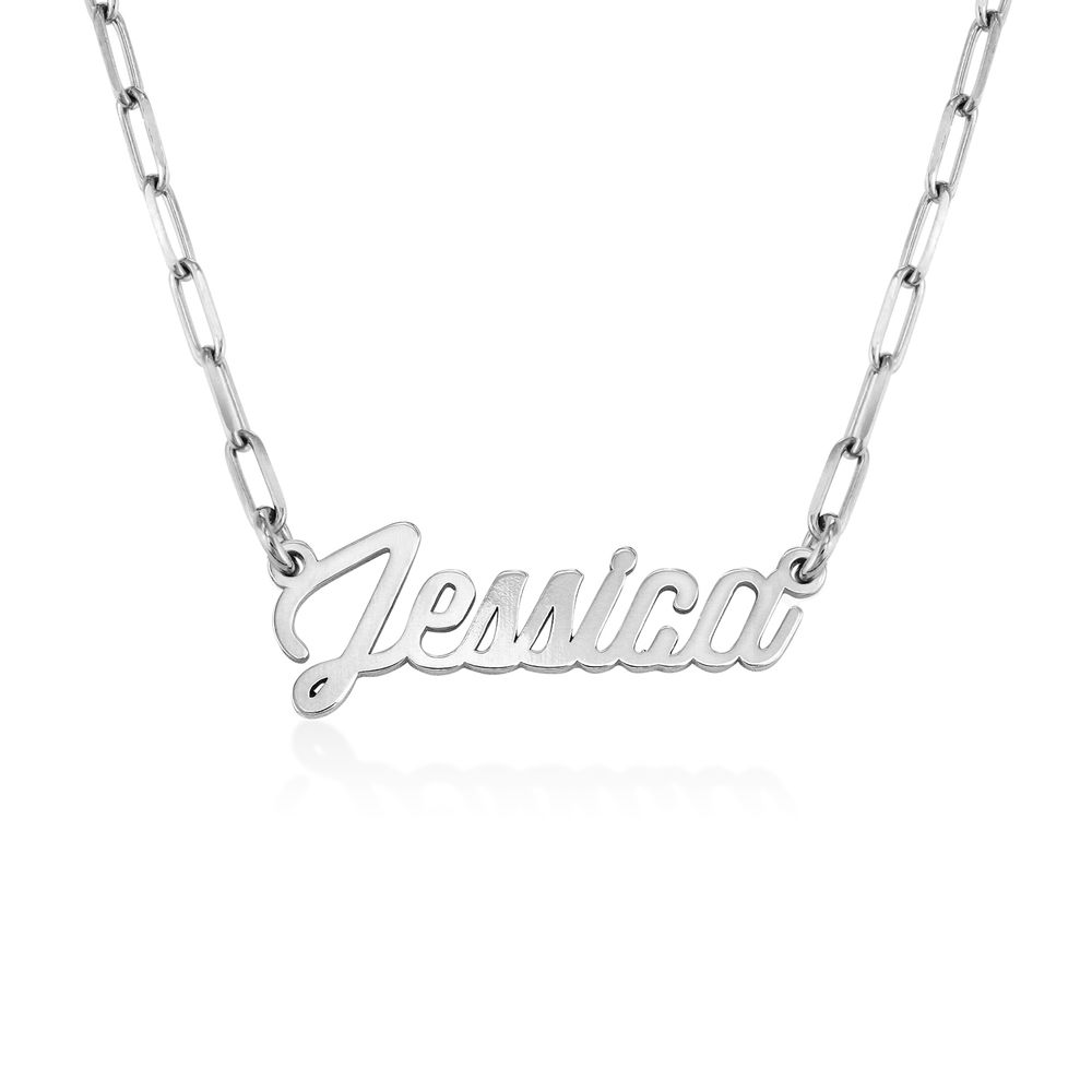 Chain Link Script Name Necklace in Sterling Silver