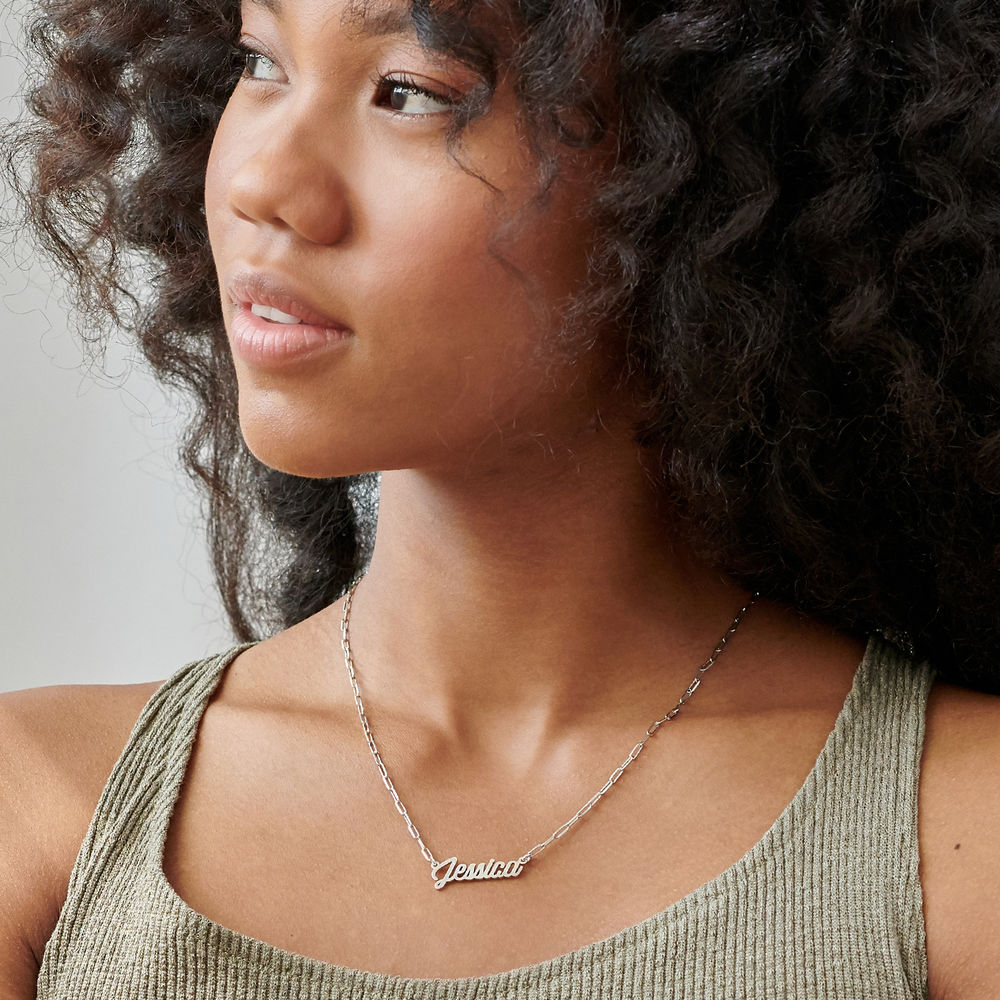 Chain Link Script Name Necklace in Sterling Silver - 2