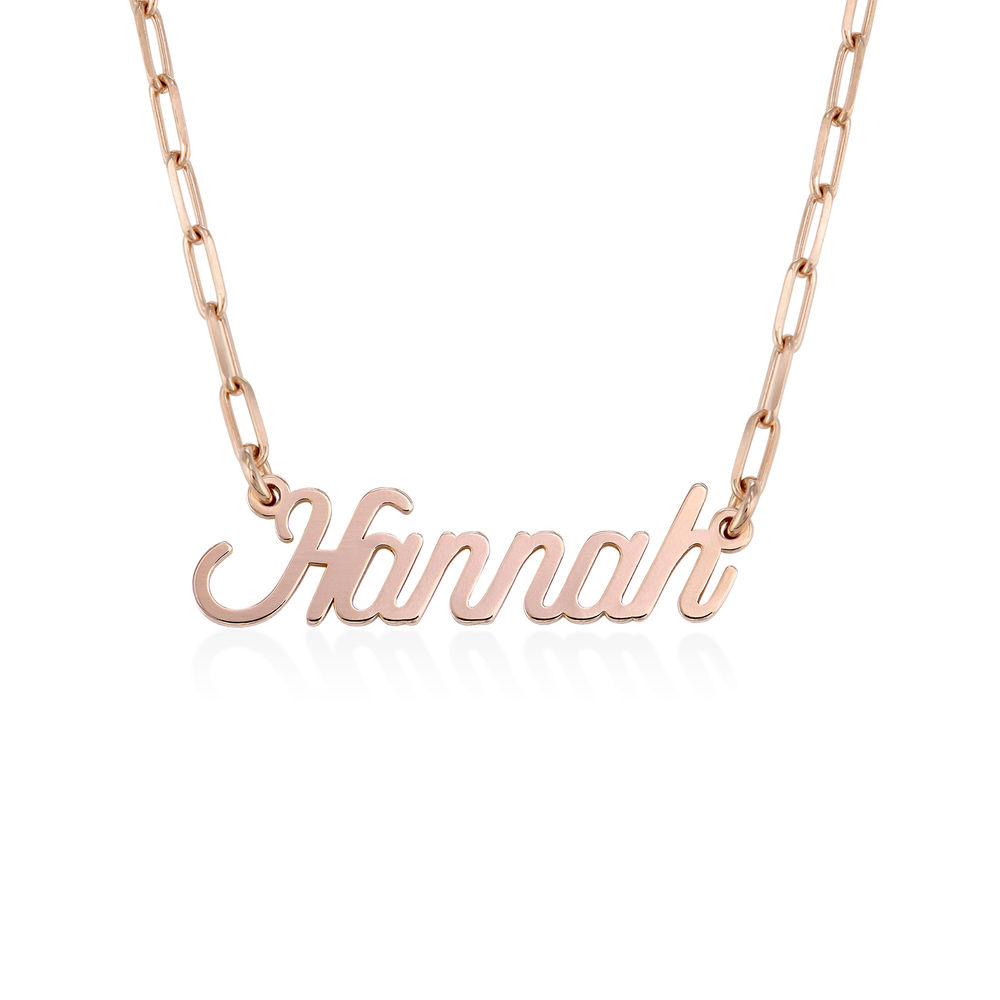 Chain Link Script Name Necklace in Rose Gold Plating