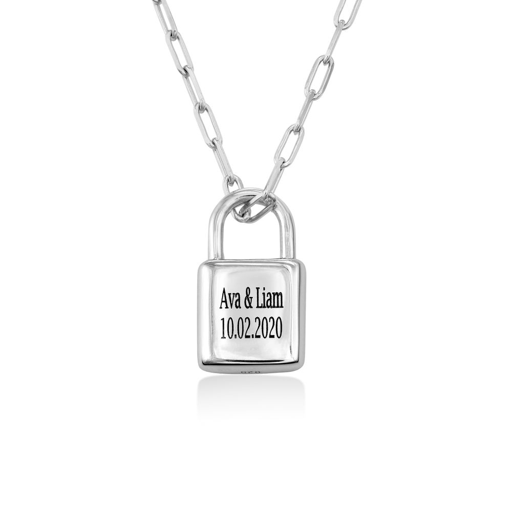 Allie Padlock Link Necklace in Sterling Silver