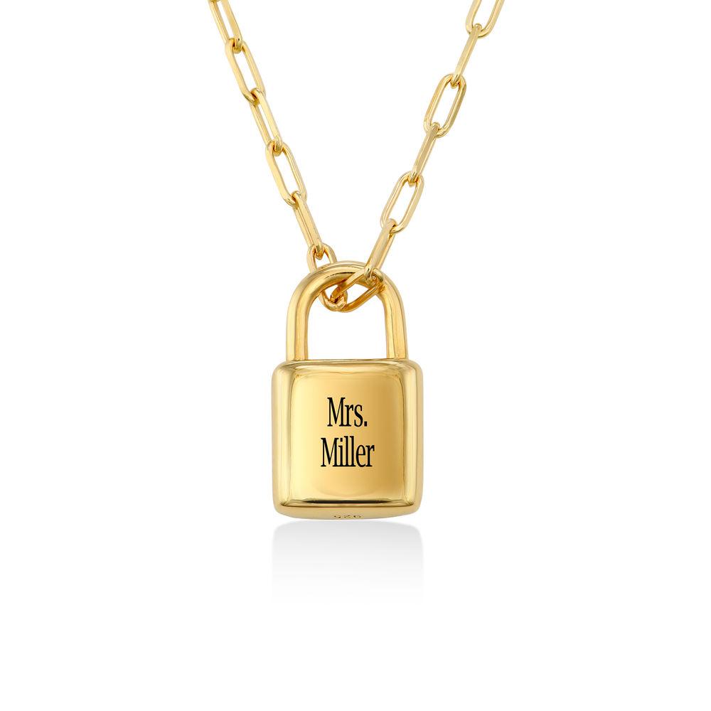 Allie Padlock Link Necklace in Gold Vermeil