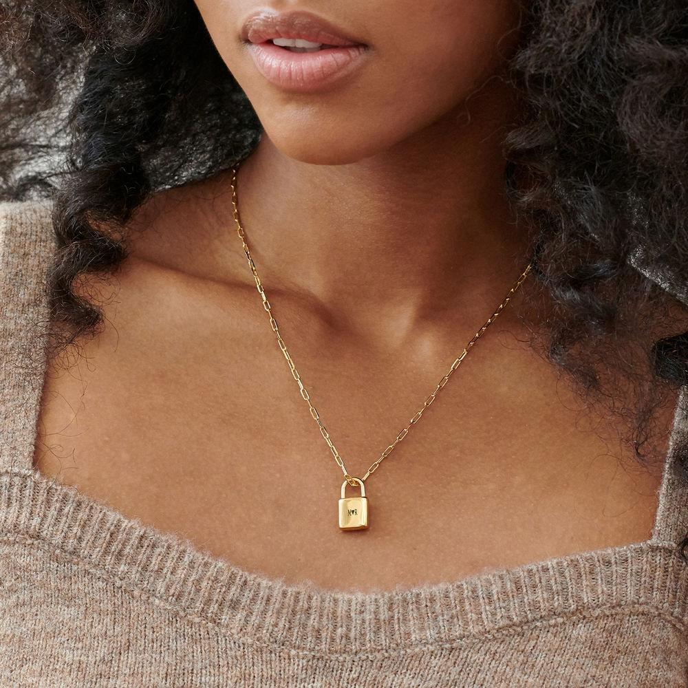 Allie Padlock Link Necklace in Gold Vermeil - 2