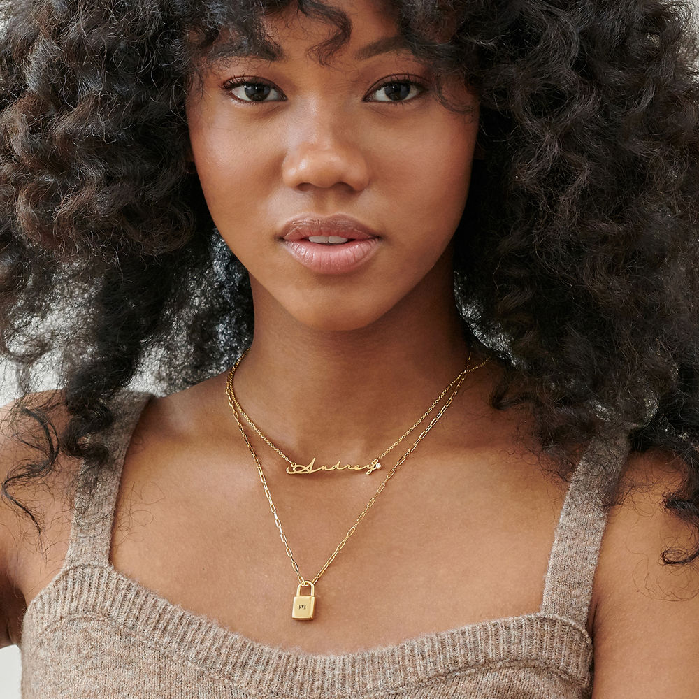 Allie Padlock Link Necklace in Gold Vermeil - 3