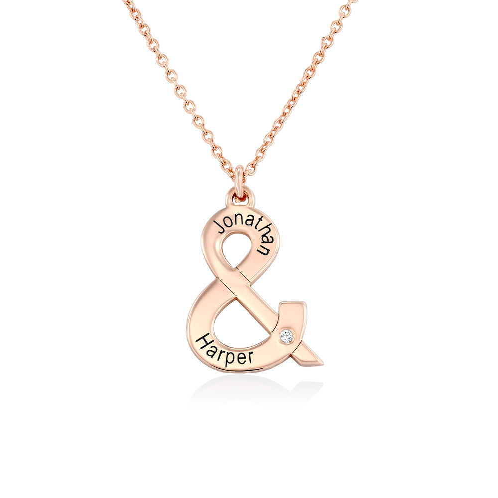& Sign Custom Necklace in Rose Gold Plating with Diamond