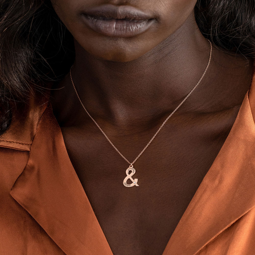 & Sign Custom Necklace in Rose Gold Plating with Diamond - 4