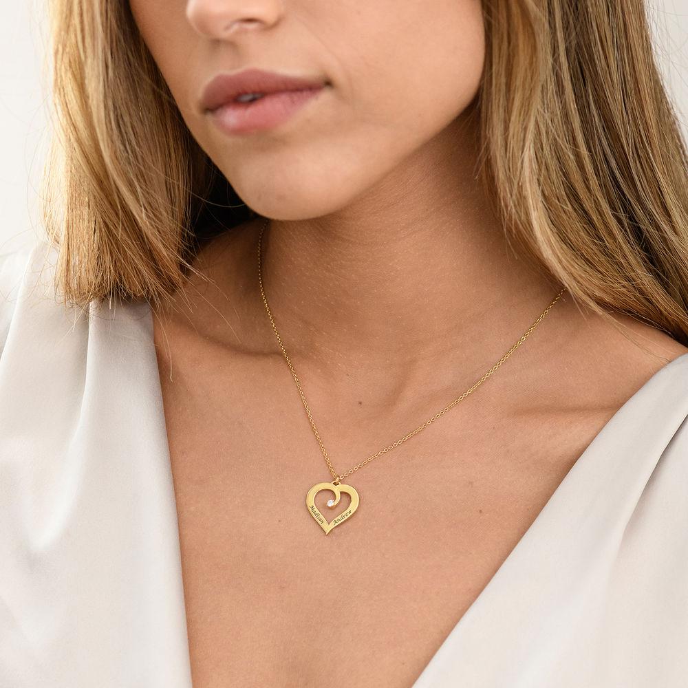 Fine Diamond Custom Heart Necklace in Gold Plating - 2