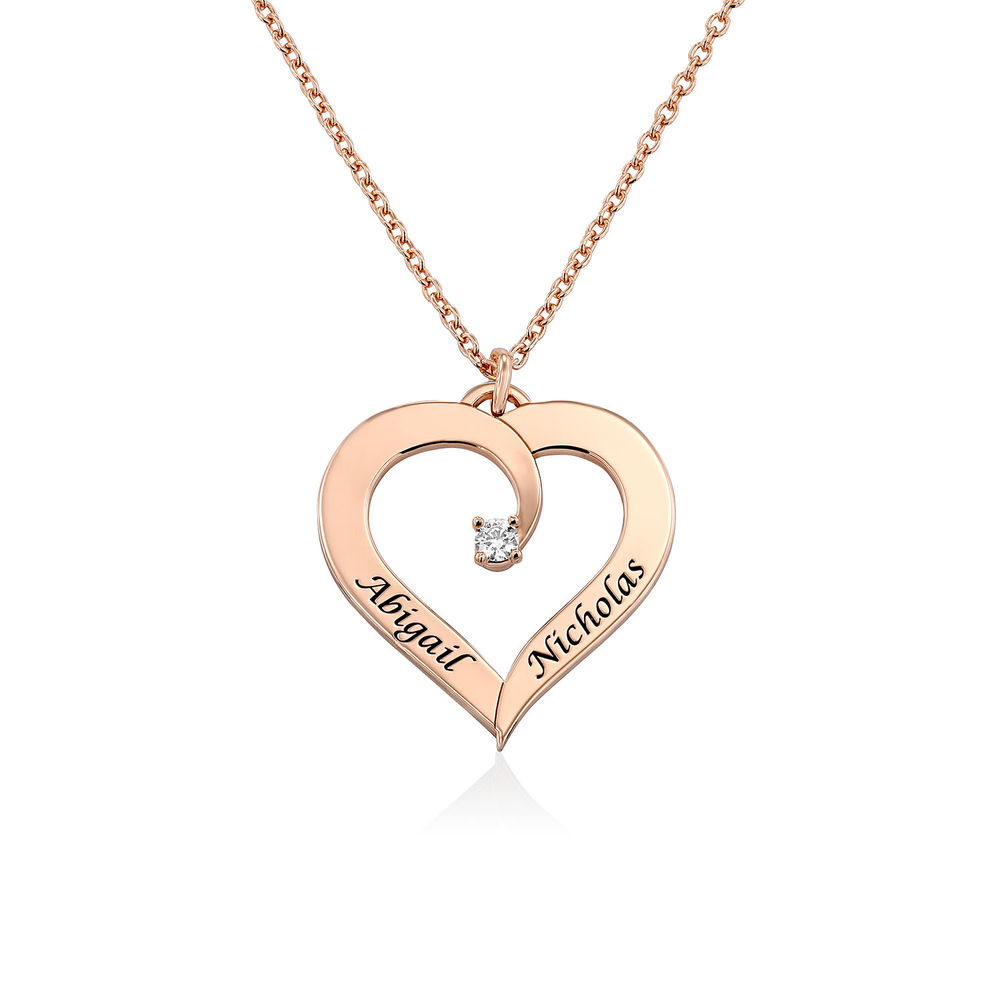 Fine Diamond Custom Heart Necklace in Rose Gold Plating