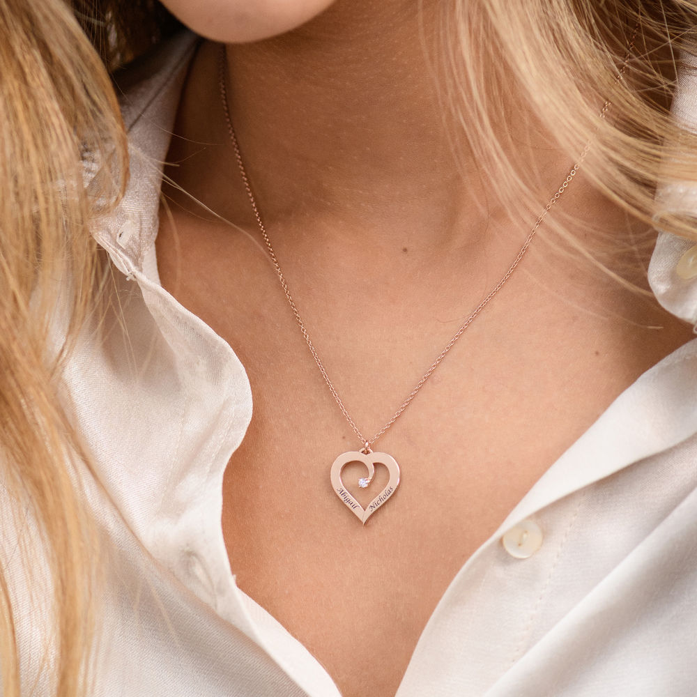 Fine Diamond Custom Heart Necklace in Rose Gold Plating - 3