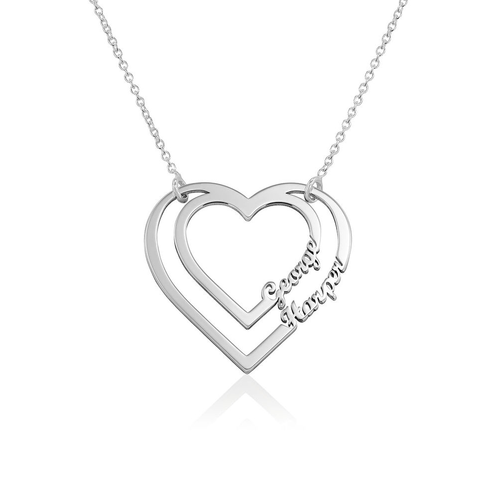 Personalised Heart Necklace with Two Names in Sterling Silver