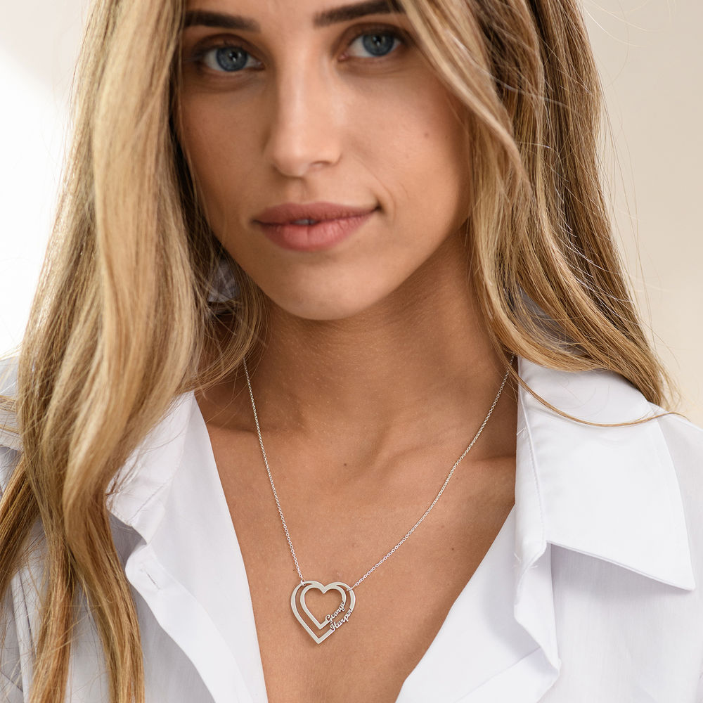 Personalised Heart Necklace with Two Names in Sterling Silver - 1